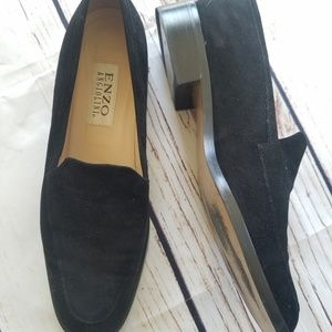 VTG Enzo Angiolini Suede Slip On Loafers Low Heel